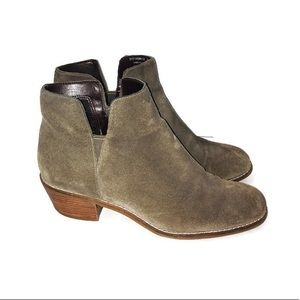Cole Haan Taupe Suede Heeled Ankle Booties